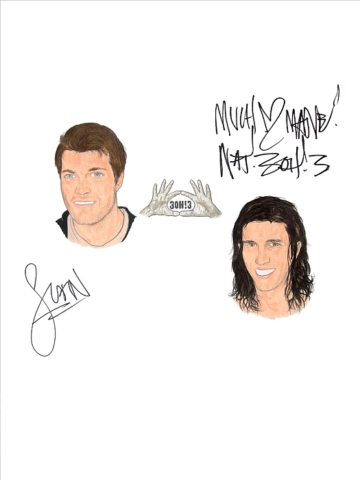 Autographed Drawing - Autographed 3oh3 Sean Foreman And Nathaniel Motte by Michael Dijamco