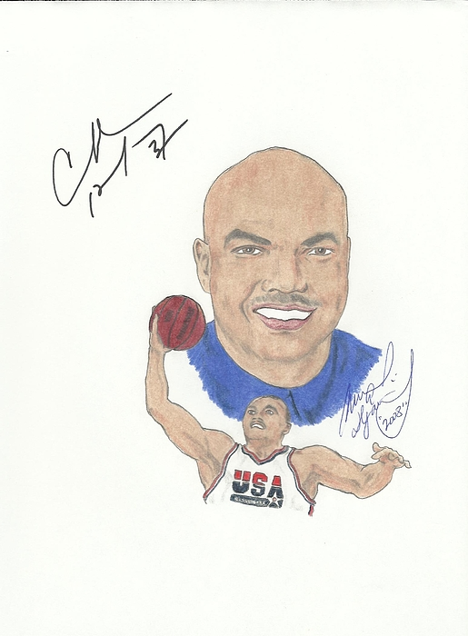 Autographed Drawing - Autographed Charles Barkley by Michael Dijamco