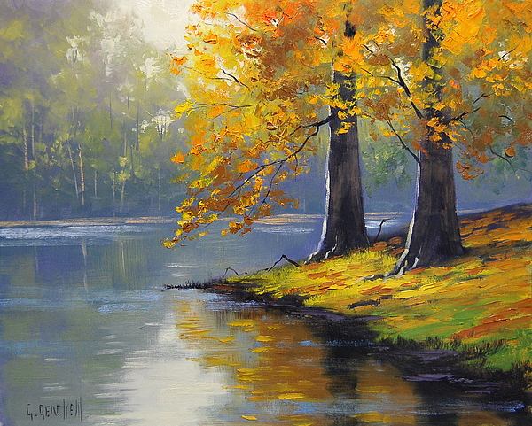 Fall Painting - Autumn Lake Print by Graham Gercken