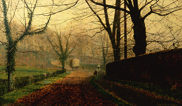 Wall; Leaves; Haycart; Landscape Painting - Autumn Sunshine Stapleton Parknear Pontefract  by John Atkinson Grimshaw