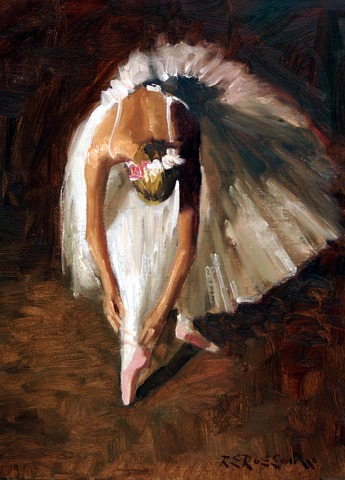 Ballerina Painting - Ballerina With Pink Shoes by Roelof Rossouw