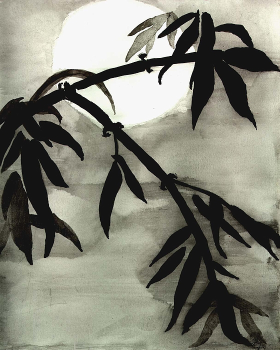 Bamboo Photograph - Bamboo In Moonlight - Watercolor Painting by Merton Allen