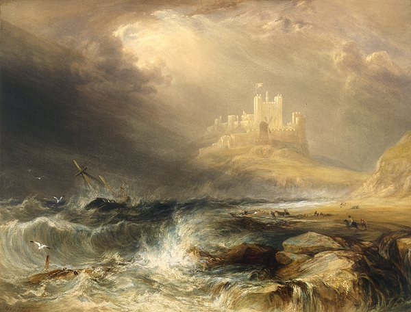Bamborough; Bamburgh; Northumberland; England; Norman; Castle; Castles; Fortification; Fortifications ;crenellation; Crenellated; Coast; Coastal; North Sea; Storm; Stormy; Windy; Gale; Weather; Atmospheric;willliam Andrews Nesfield  Rough; Choppy; Boat; Boats; Ship;ships; Rocks; Rocky; Beach; Promontory; Headland; Peninsula Painting - Bamborough Castle by Willliam Andrews Nesfield