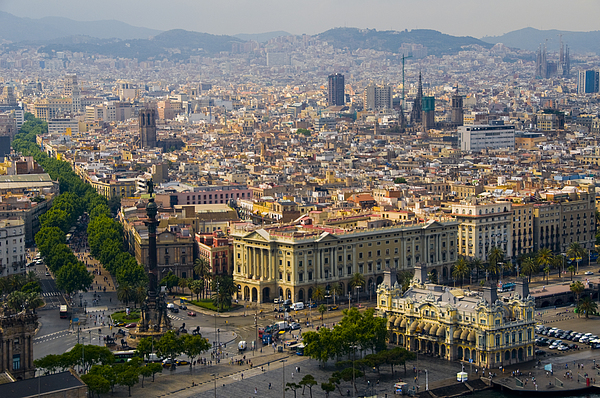 Day Photograph - Barcelona With Tree-lined Las Ramblas by Annie Griffiths