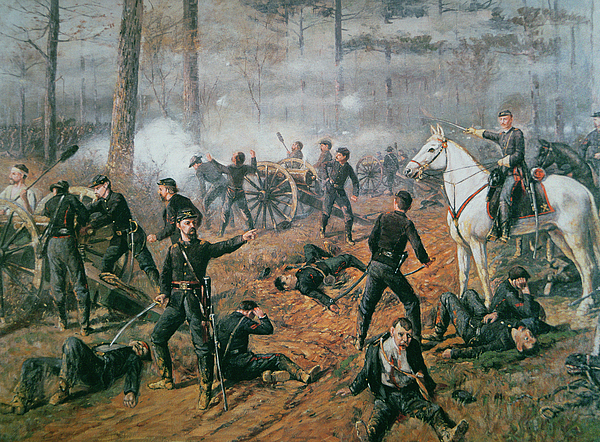Captain Hickenlooper's Battery In The Hornet's Nest At The Battle Of Shiloh Painting - Battle Of Shiloh by T C Lindsay
