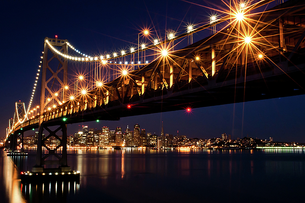 Horizontal Photograph - Bay Bridge In Front Of San Francisco Skyline by Blue Hour Photography