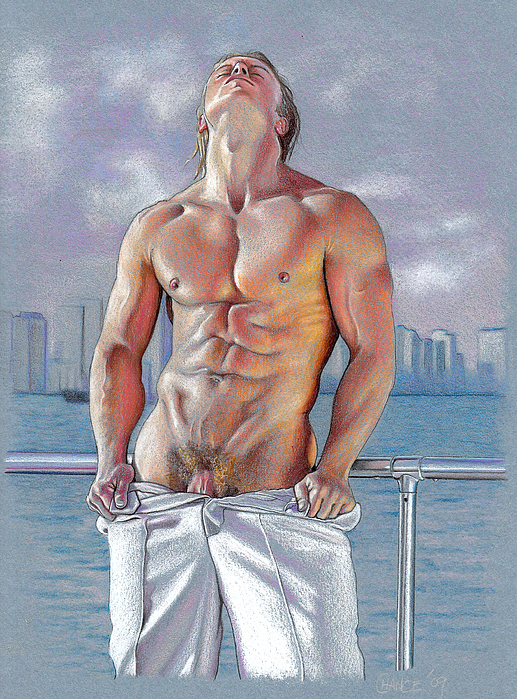 Male Nude Drawing - Bayside by Chance Manart