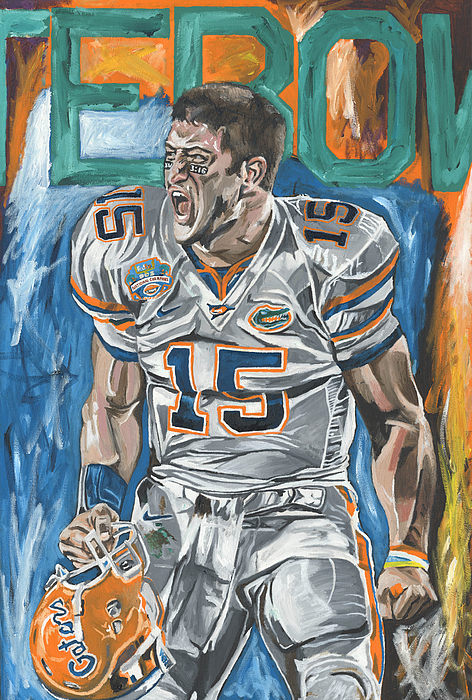 Tim Tebow Florida Gators Bcs Champions David Courson Sports Art Painting Painting - Bcs Champions by David Courson