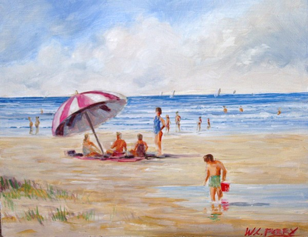 Beach With Umbrella Painting By Perrys Fine Art
