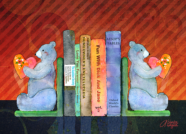 Bear Mixed Media - Bear Bookends by Arline Wagner