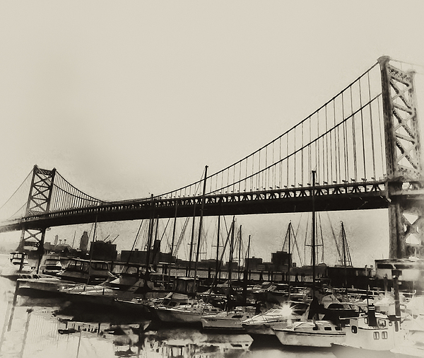 Philadelphia Photograph - Ben Franklin Bridge From The Marina In Black And White. by Bill Cannon