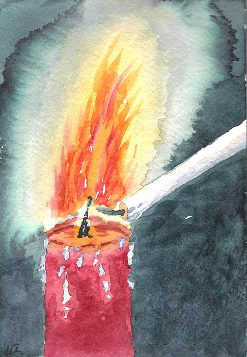 Better to light a candle painting by warren thompson for Candle painting medium