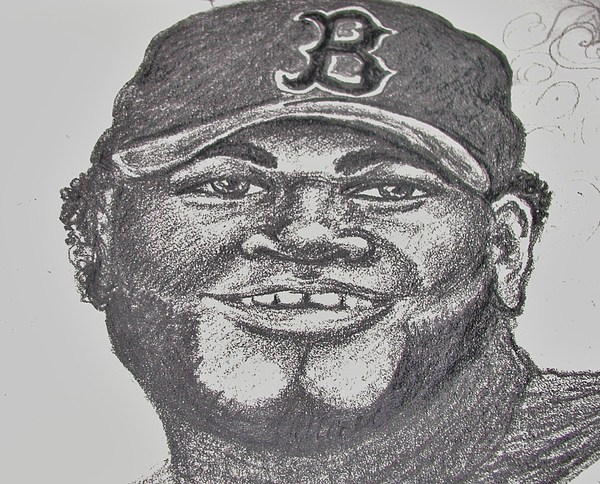 David Ortiz Drawing - Big Papi Sketch by Emily Michaud