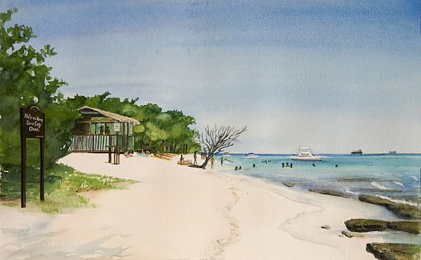 Beach Jamaica Lime Cay Painting - Big Sand At Lime Cay by Anji Worton