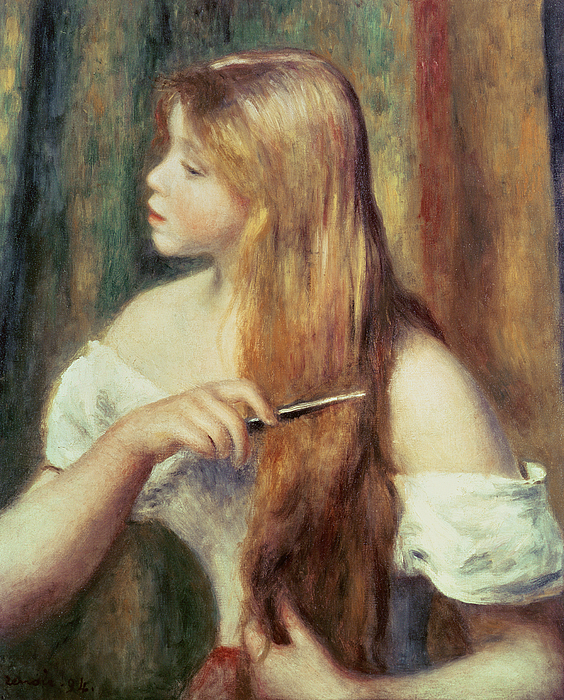 Blonde Girl Combing Her Hair Painting - Blonde Girl Combing Her Hair by Pierre Auguste Renoir
