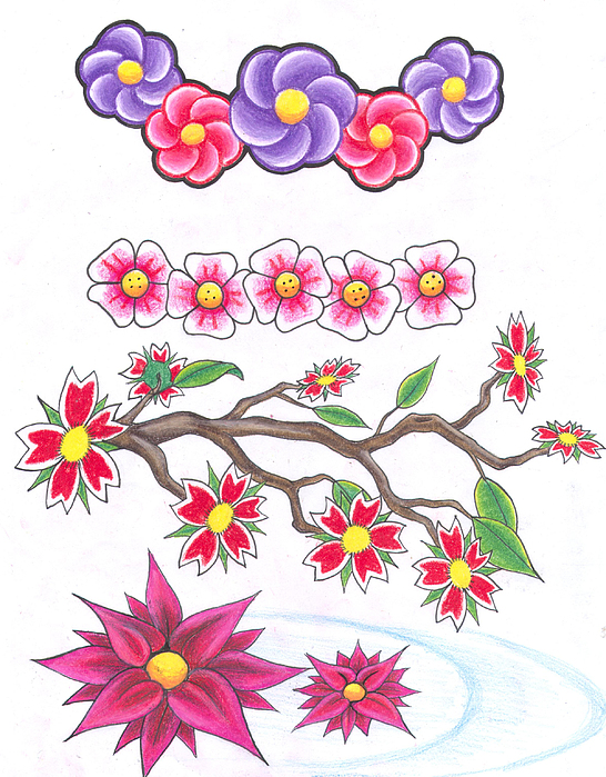 Cherry Blossoms Drawing - Blossoms by Darl Papple