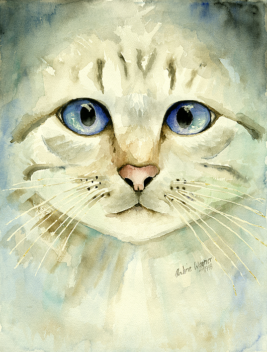 Cat Painting - Blue-eyed Cat by Arline Wagner
