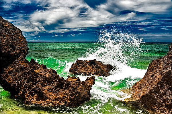 Rocks Photograph - Blue Meets Green by Christopher Holmes
