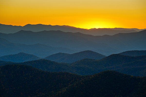 Blue Ridge Mountains Photograph - Blue Ridge Parkway Sunset Nc - Afterglow by Dave Allen