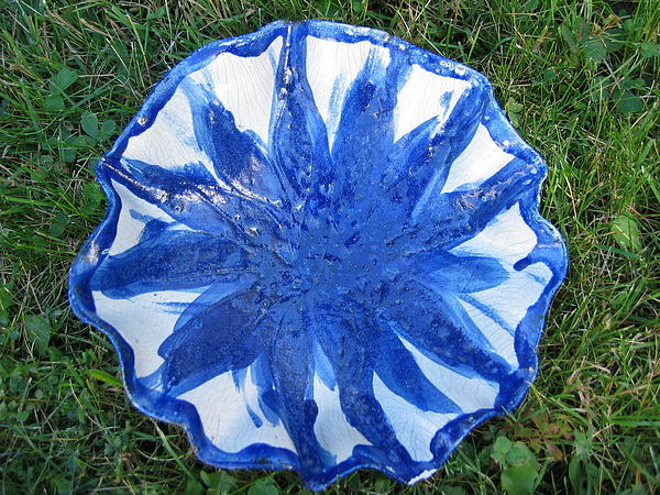 Blue Sunflower Vessel Ceramic Art