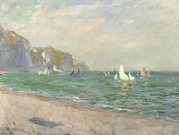 Boats Painting - Boats Below The Cliffs At Pourville by Claude Monet