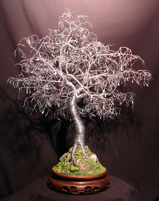 Sculpture Sculpture - Bonsai With Hammered Leaves by Sal Villano