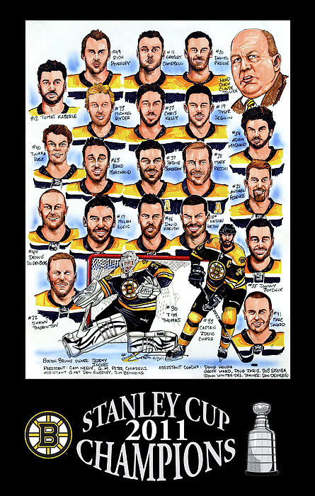 Boston Bruins Stanley Cup Champions Drawing