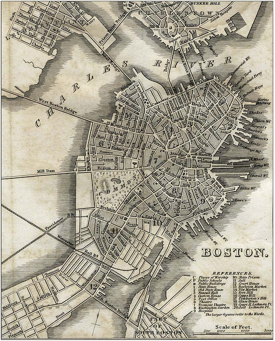 Boston Map Of 1842 Print by George Pedro