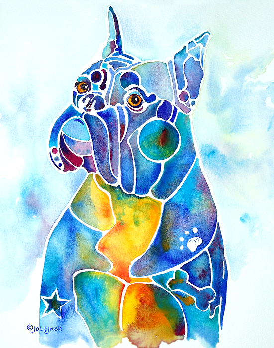 Boxer Dog Breed Painting - Boxer Dog Breed Blues by Jo Lynch