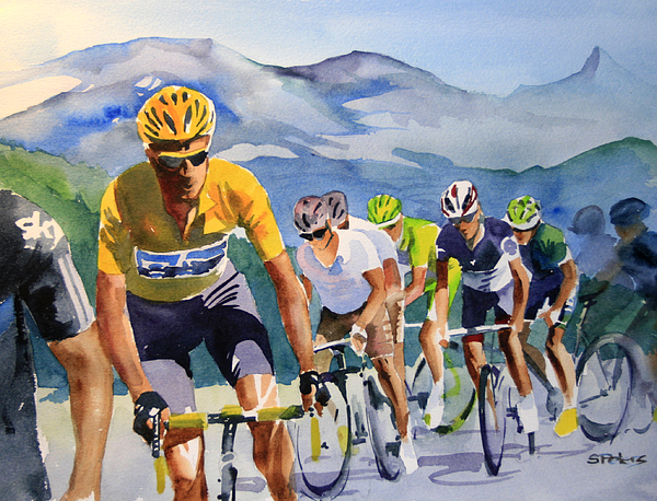 Le Tour De France Painting - Brad Wiggins In Yellow by Shirley  Peters
