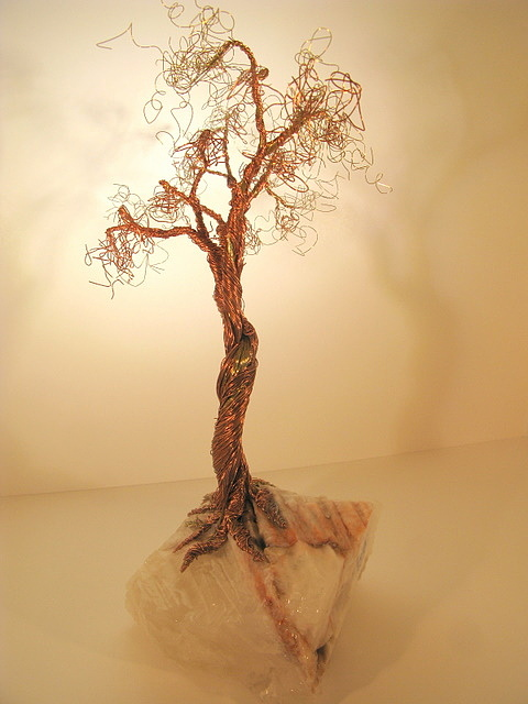 Metal Tree Sculpture - Brass-copper Tree On Crystal by Judy Byington