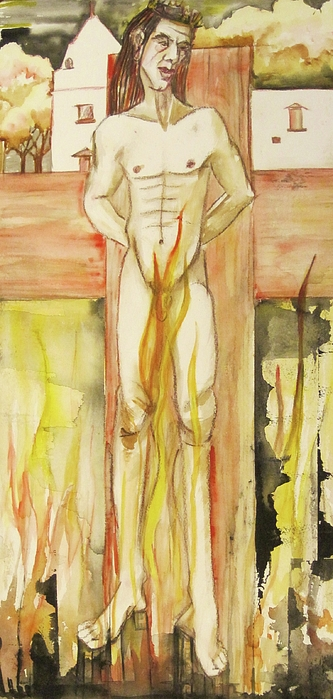 This Is A Matted And Framed Painting Of A Nude Male Figure On A Cross Planted In A Contmporary Abstracted Cityscape.  Hues Of Pinks Painting - Brimstone by Georgia Annwell