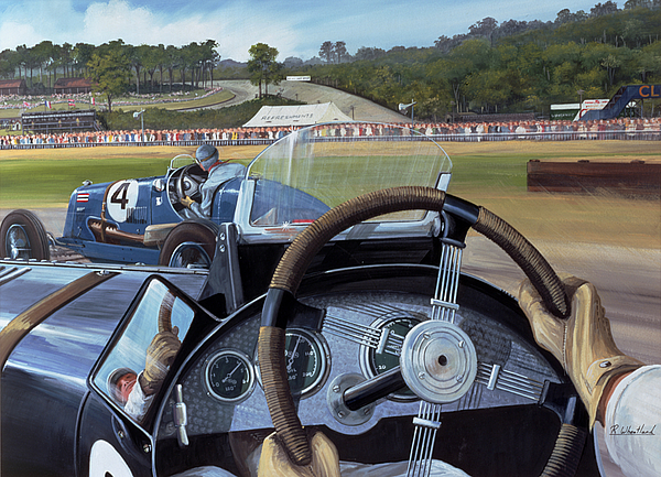 Brooklands - From The Hot Seat (w/c And Gouache On Paper) Racing; Car; Driver; Wheel; Track; Circuit; Race; Vintage; Thirties Painting - Brooklands From The Hot Seat  by Richard Wheatland