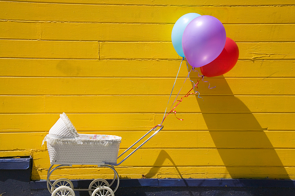 Wheel Photograph - Buggy And Yellow Wall by Garry Gay