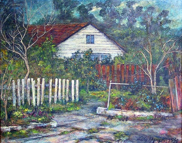 Landscape Painting - Bushy Old House by Lily Hymen