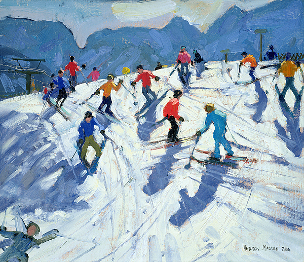 Busy Ski Slope Painting