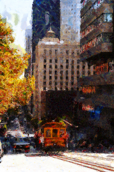 Cablecar On San Francisco California Street  . Painterly . 7d7176 Photograph
