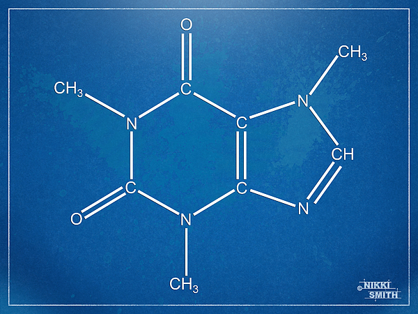 Caffeine Molecular Structure Blueprint Digital Art by Nikki Marie Smith