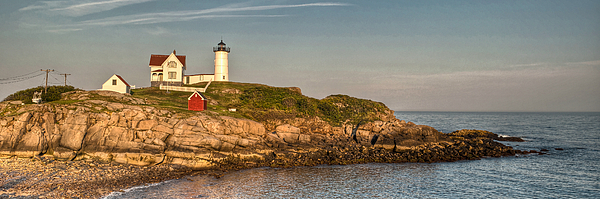 Cape Neddick Photograph - Cape Neddick Lighthouse Island In Evening Light - Panorama by At Lands End Photography