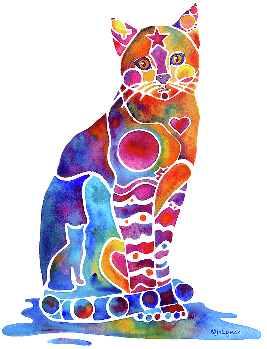 Cat Painting - Carley Cat by Jo Lynch