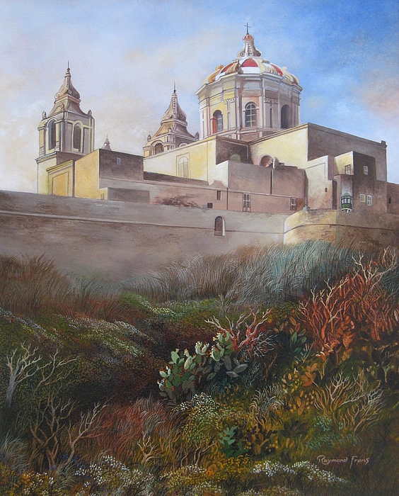 Ancient Capital City Of Malta Painting - Cathedral Mdina by Raymond Frans