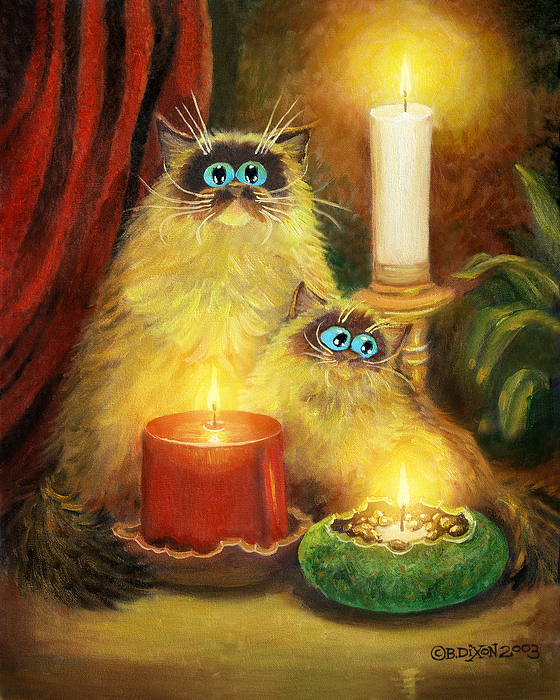 Cats and candles no 1 painting by baron dixon for Candle painting medium