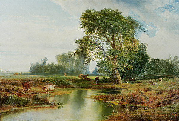 Cattle Watering Painting - Cattle Watering by Thomas Moran