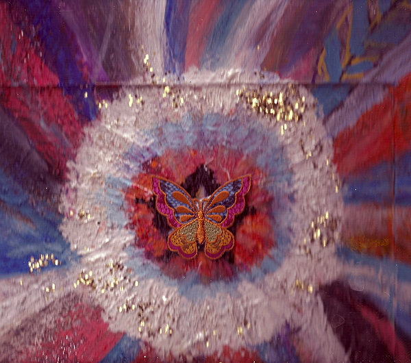 Butterfly Painting - Celebration Of Life With  A Butterfly In The Middle by Anne-Elizabeth Whiteway