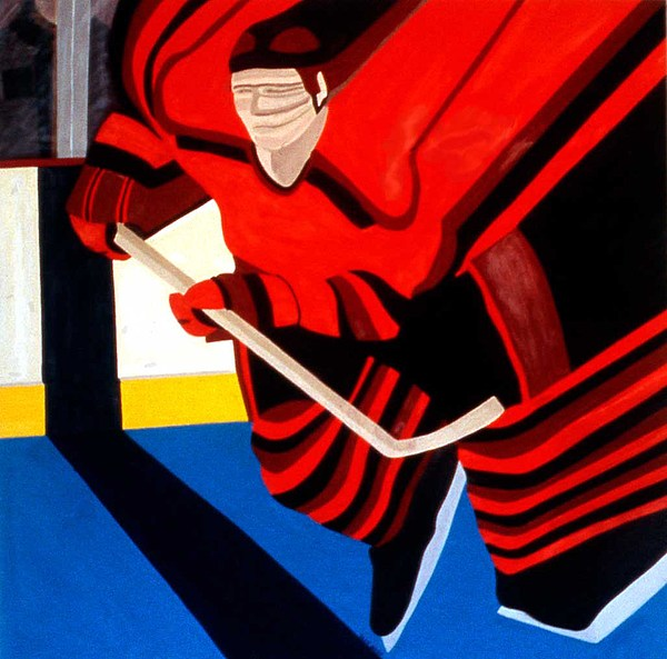 Hockey Painting - Center by Ken Yackel