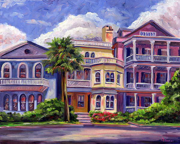Charleston houses painting by jeff pittman for Charleston row houses