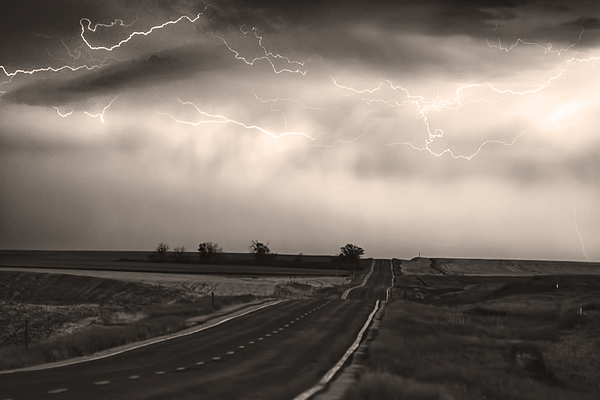 fine Art Prints For Sale Photograph - Chasing The Storm - County Rd 95 And Highway 52 - Co- Sepia by James BO  Insogna