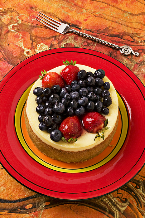 Fruit Photograph - Cheesecake On Red Plate by Garry Gay