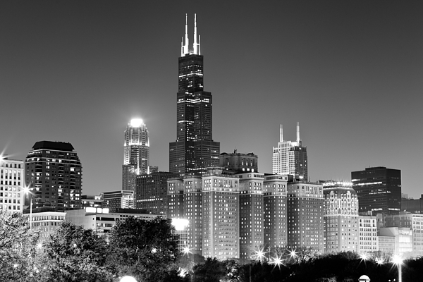 At&t Photograph - Chicago Night Skyline In Black And White by Paul Velgos