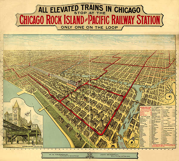 Panoramic Map Digital Art - Chicago Rock Island And Pacific Railway Station by Donna Leach
